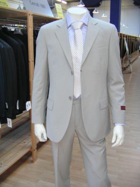 Men's Lightest Tan 2 Button Super Wool Dress Suit (Light Weight Weight)