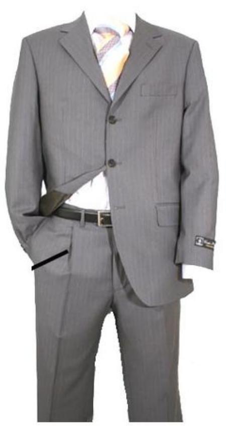 Light Gray Pinstripe Super 120's Wool