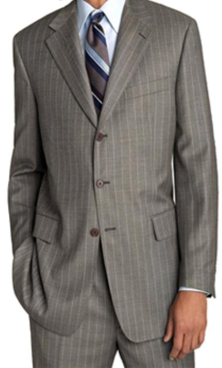 Lightweight Worsted Wool Light Grey 'Travelor' White Pinstripe Suit