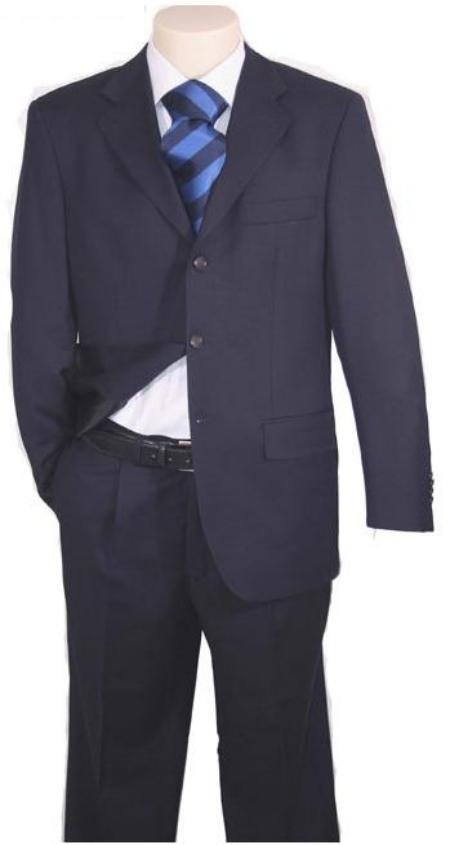 Super 150 Wool & Cashmere 3-Button Navy Blue (No Vent)