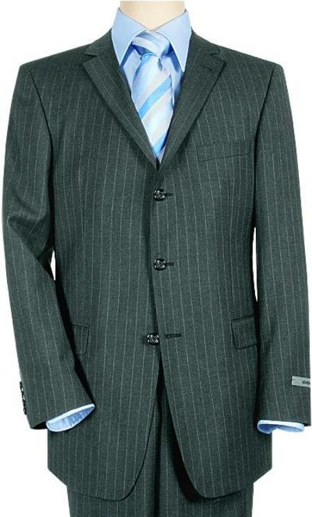 Super 120 Wool & Cashmere 3-Button Charoal Gray & White Pinstripe  italian fabric Suit