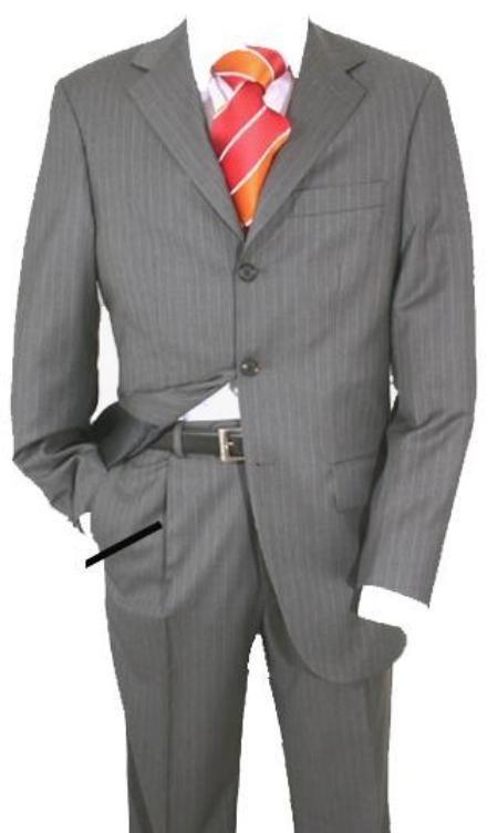 Charcoal Gray Pinstripe Super 120's Wool