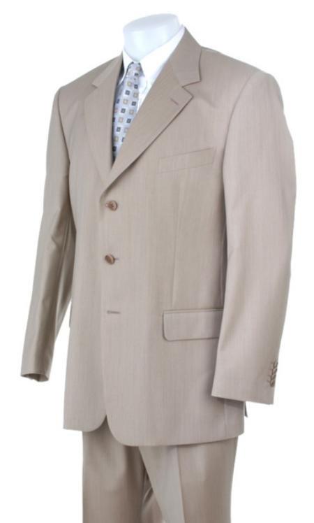 Stone~Sand~Khaki~Light Tan Light Weight Suit 3 Buttons