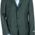 Super 120 Wool & Cashmere Charoal Gray & White Pinstripe premeier quality italian fabric Suit