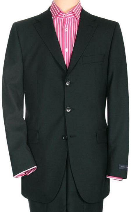 Jet Power Black Solid Black With Sheen!! Super 150's Men's Suit Side Back Vent