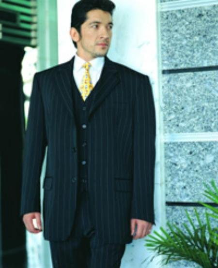 Power Black Pinstripe Super 120's Wool