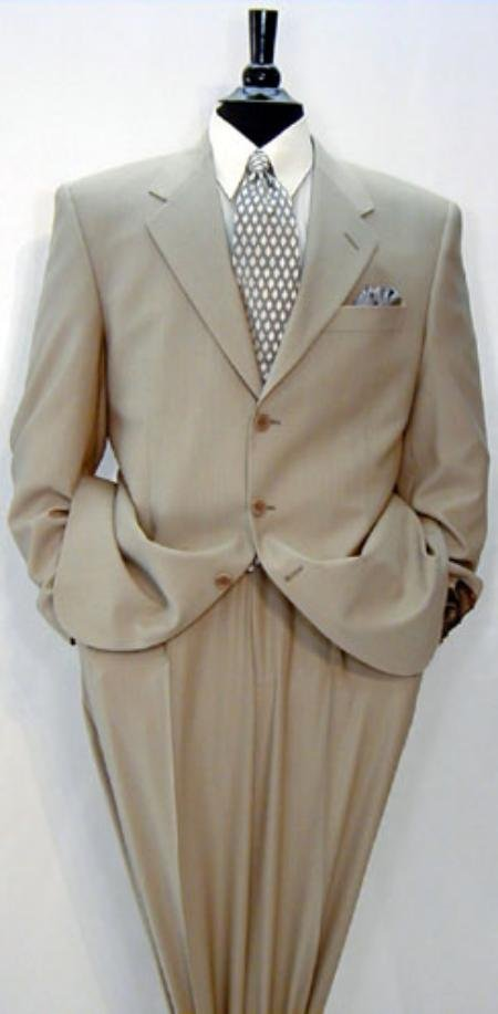 Luxurious High End 3-Button Cashmere Solid Tan premeier quality italian fabric Suit