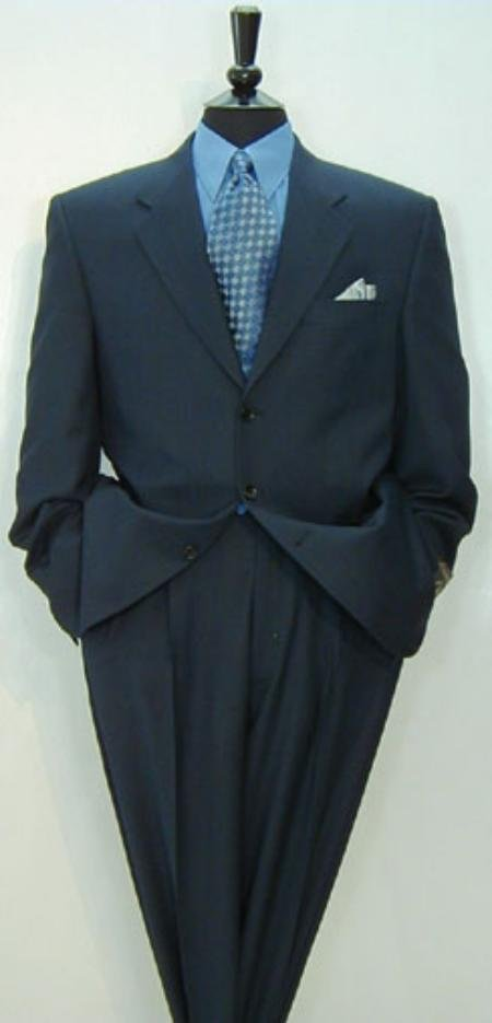 Luxurious High End 3-Button Super 150 Wool Solid Navy Blue premeier quality italian fabric Suit