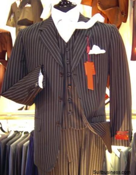 Bold Chalk Pinstripe 3 Button Vested Suit