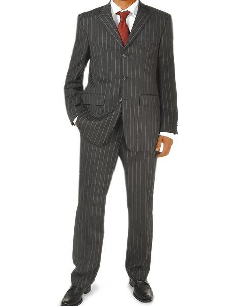 Black Pinstripe Super 100 Wool 3 buttons Mens business Suit