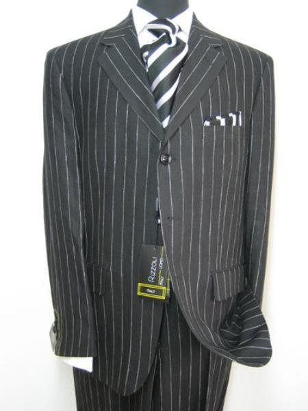 Celebrity Jet Black Pinstripe Super 150's Wool premeier quality italian fabric Design
