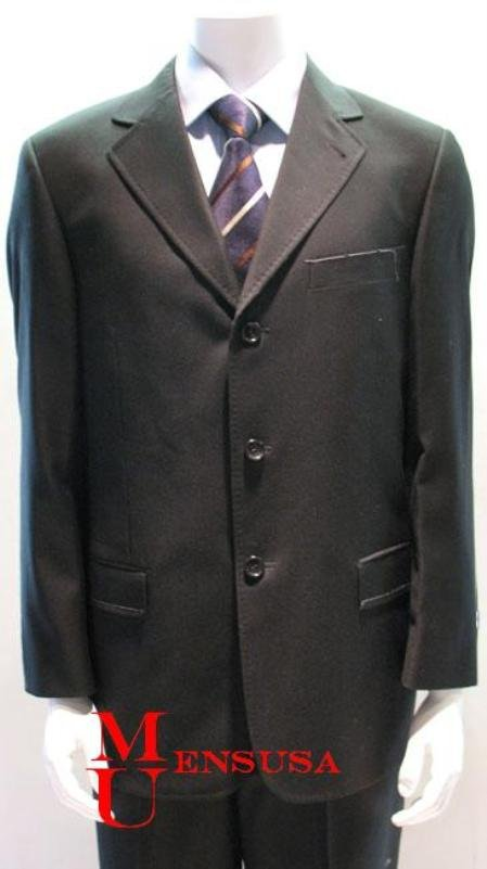 Simple & Classy Solid Black Pick Stitching Laple Double Side Vent On Sale Super 140's Wool