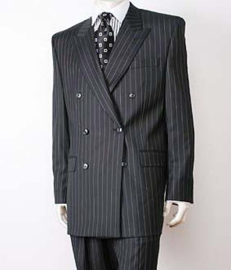 Black Pinstripe Double Breasted Super 150's Wool premeier quality italian fabric Design