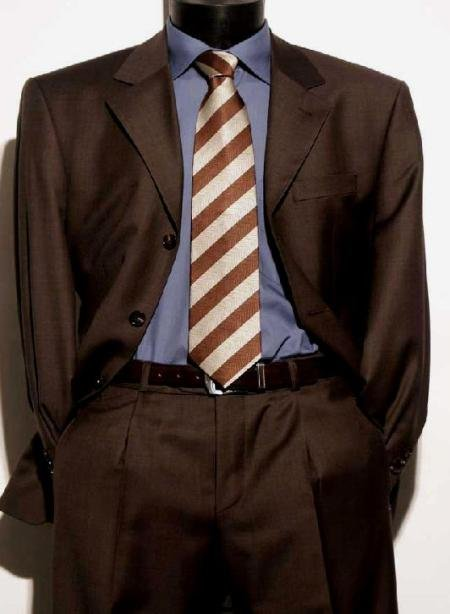 Chocolate Brown Italian Super 150's Wool premeier quality italian fabric Design Men's Suits