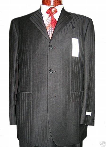 Jet Black Ton On Ton Super 120's Wool & Cashmere premeier quality italian fabric Design 3 buttons