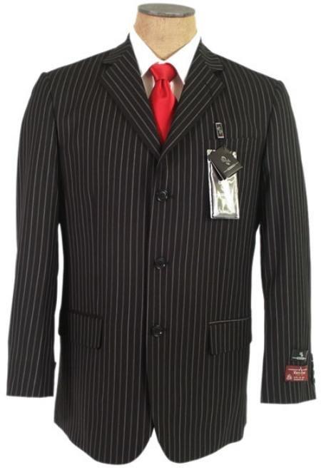 John Paul Black Pinstripe Super 120's Wool premeier quality italian fabric Design 3 Buttons