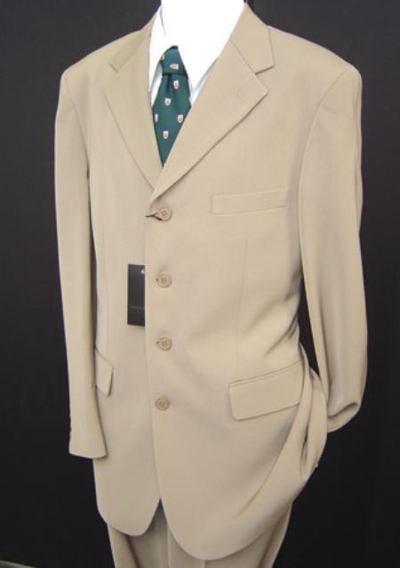 Stunning Light Tan 4 Button Professional Suit