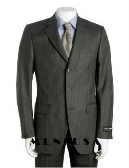 Dark Charcoal Gray Multi Pinstripe 3 Button Super 120's Wool Pleated Pants
