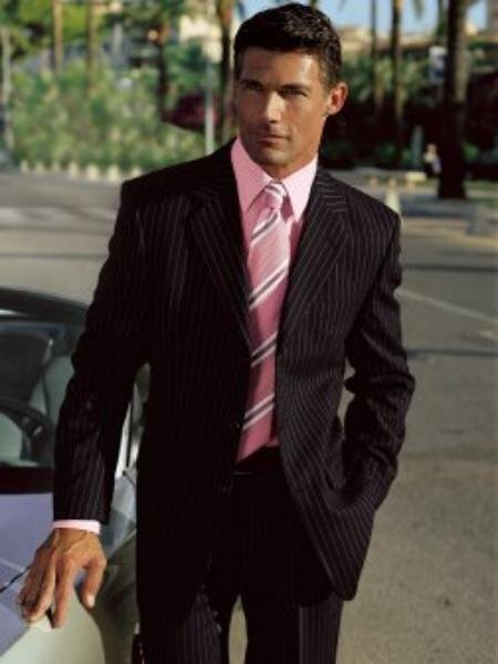 Stylish black striped suit is a men's business apparel essential in 2 or 3 Buttons