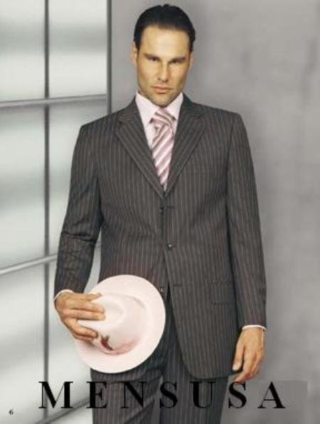 Beatiful Mens Gray Suit w/pink shadow pinstripe 3 Button Suits