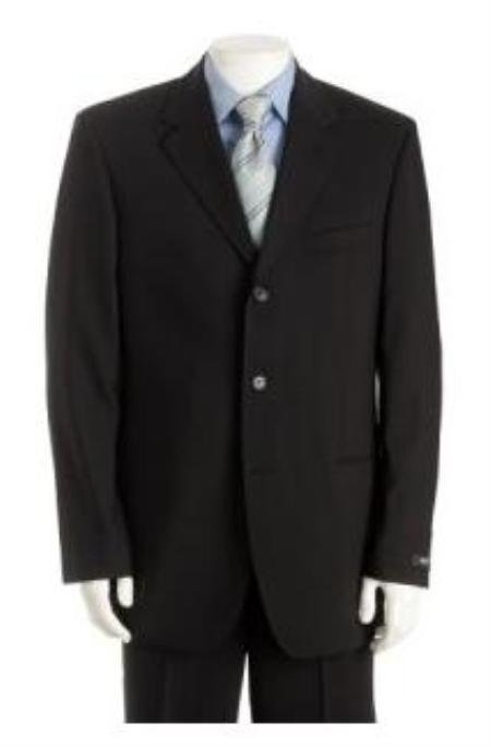 UMO Simple & Classy Solid Black Super 150's Wool & Cashmere Blend Back Side Vented