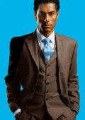Elegant Men's Chocolate Brown 3 Piece Suit