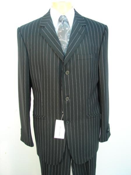 Stripe 3 Buttons Jet Black Chalk Pinstripe Super 120's Worsted Wool