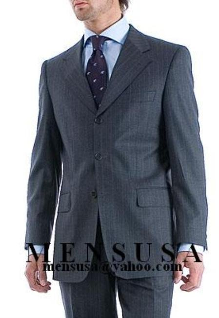 Charcoal Gray Pinstripe Super 150's Wool Men's Suit Side Vent
