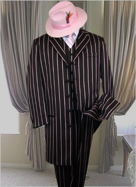 Piece Long Jacket Gangster Black & Any Color Pinstripe Zoot Suit