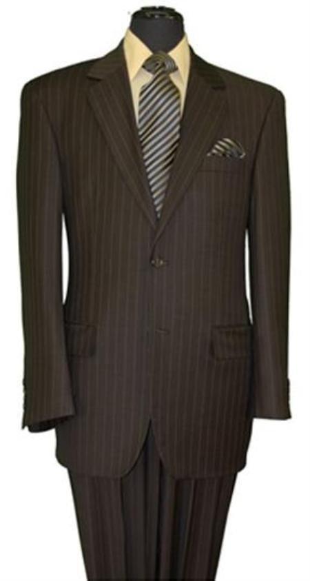 Men's Two Button Style Brown Pinstripe Super 140's Wool Suit (Jacket&Pants)