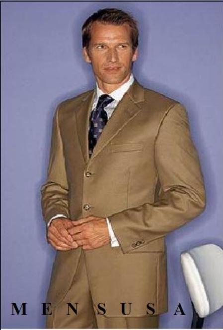 Men's Light Gold~Bronz~khaki 3or4-button Cool Light Weight Jacket+Pants