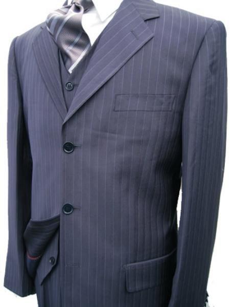 Navy Blue Stripe 3 Piece Suit � 3 Button Jacket / Side Vents / Vest / Pleated Pant / Tailo