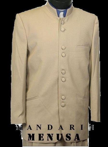 Mandarin Collar BANNED Collar Taup/Khaki Suit 8 BUTTON EXTRA FINE HAND MADE FRENCH CUT  suit