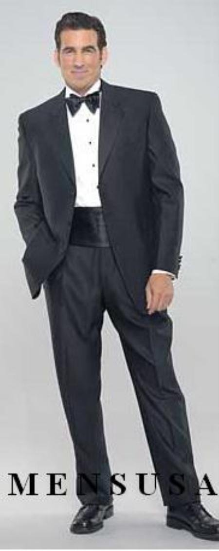Black 3 Button Tuxedo Super 140's Wool Jakcet + Pants + Shirt + Bow Tie + CUMMERBUNDS