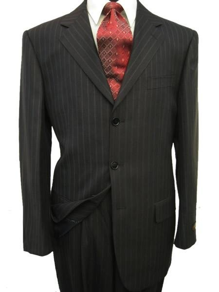 High Quality  Black & Smooth Dark Gray Pinstripe 2 or 3 Buttons Super 150's Wool Italian suit