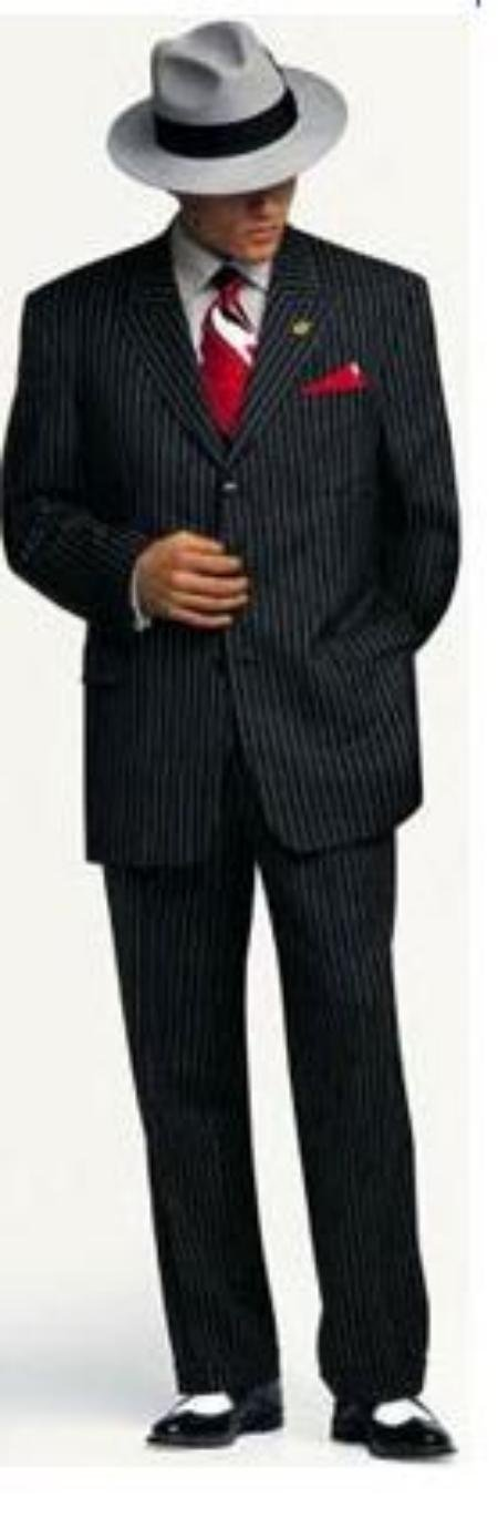 Small Jet Black Pinstripe Fashion Suit Party Fashion Suit Super 120's Wool