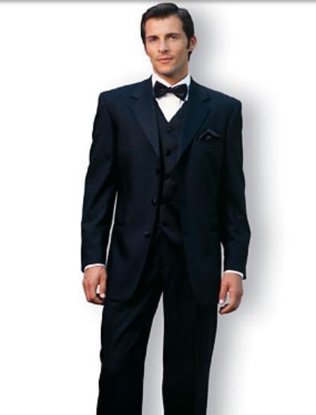 premeier quality italian fabric Designer Black Vested Tuxedo Super 150's Wool suit