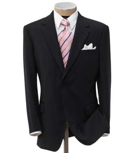 Men's 2 Button Liquid Black Super Wool Center Vent Dress Suit