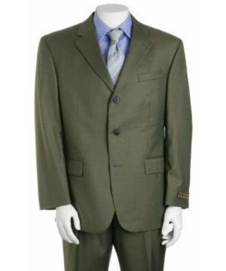 Forest Olive Green 3 Buttons Men's 3 button Busines Suits in Super 130's Marina Wool