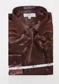 Mens Shiny Luxurious Shirt Dark Brown