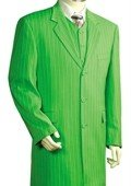 Mens Urban Styled Suit with Full Length Jacket Lime