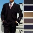 2 Button Solid Colors Vested 100% Wool Mens Suits