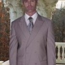 CLASSIC DOUBLE BREASTED SOLID COLOR TAN MENS SUIT