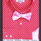 Cotton Double Button Cuff Dress Shirt, Bow Tie and Hanky -Polka Dot Fuchsia