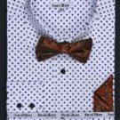 Double Button Cuff Dress Shirt, Bow Tie and Hanky -Polka Dot White