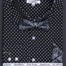Double Button Cuff Dress Shirt, Bow Tie and Hanky -Polka Dot Black