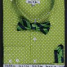 Double Button Cuff Dress Shirt, Bow Tie and Hanky -Polka Dot Lime