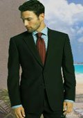 2 BUTTON SOLID COLOR BLACK MENS SUIT CENTER VENT BACK JACKET STYLE WITH 1 PLEATED PANTS