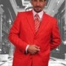 Elegant Solid Red Single Breasted 3 Button Mens Dress Suits