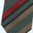 Silk Brown/Burgundy/Black/White Woven Necktie